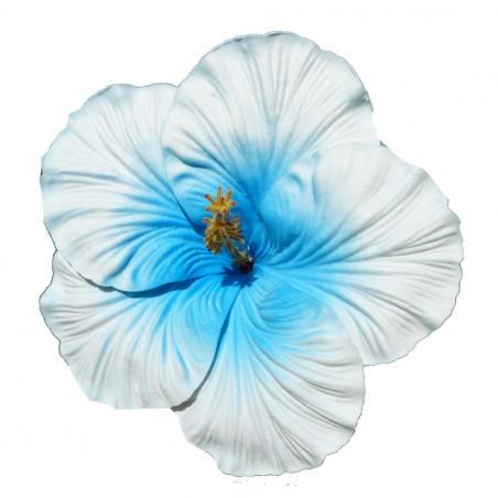 Très gros Hibiscus bleu sur tige métal blanc et bleu