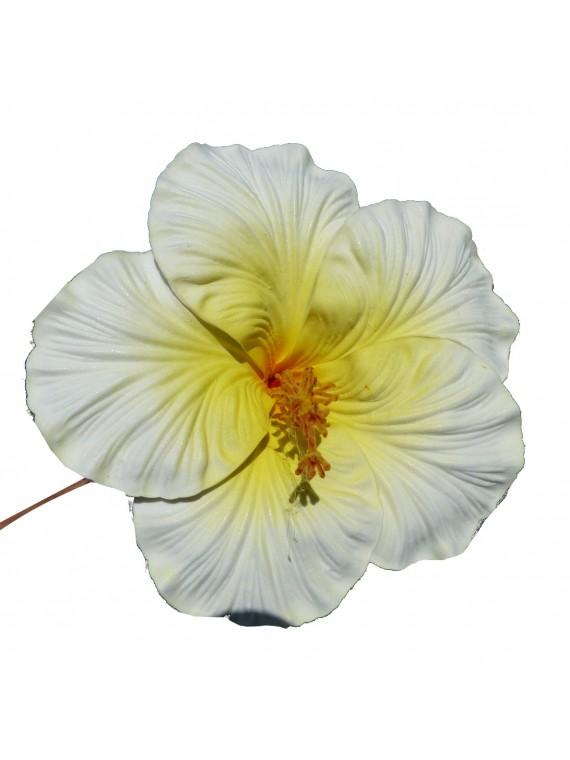 Très gros Hibiscus blanc sur tige métal