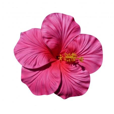 Très gros Hibiscus rose sur tige métal