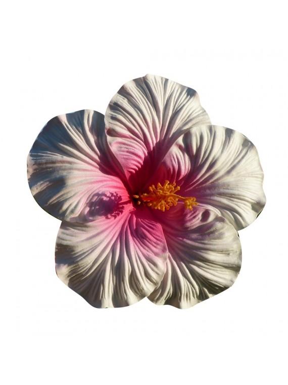 Très gros Hibiscus coeu rose sur tige métal