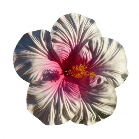 Très gros Hibiscus coeur rose sur tige métal