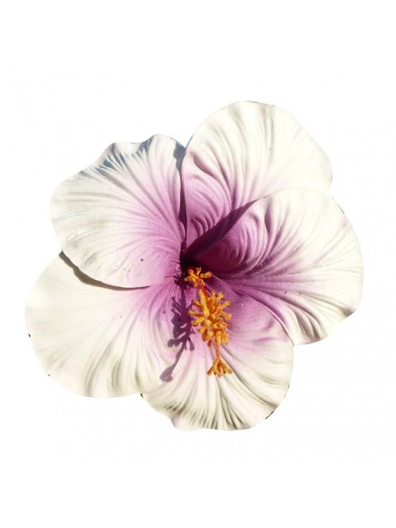 Très gros Hibiscus coeur violet sur tige métal