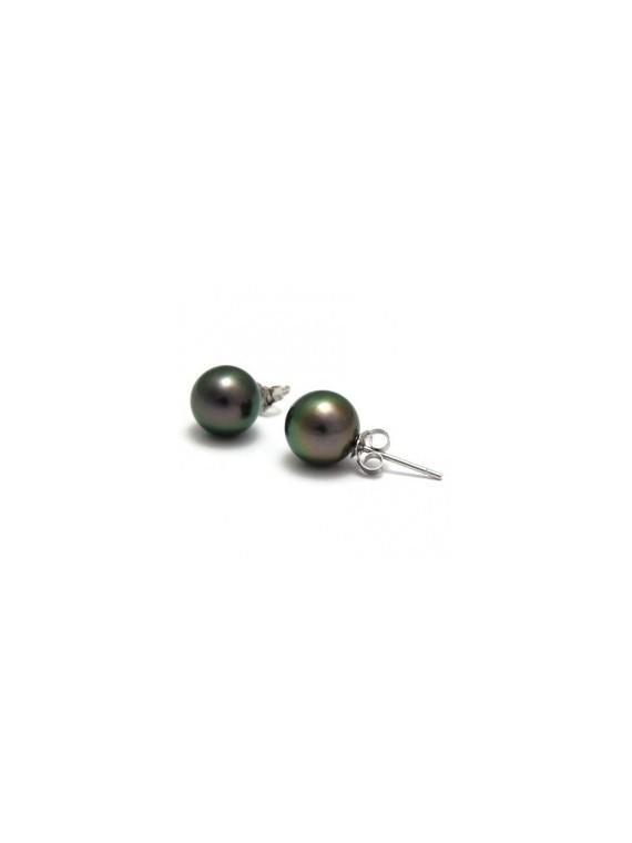 Boucle d'oreille en perle noir 5/6 mm