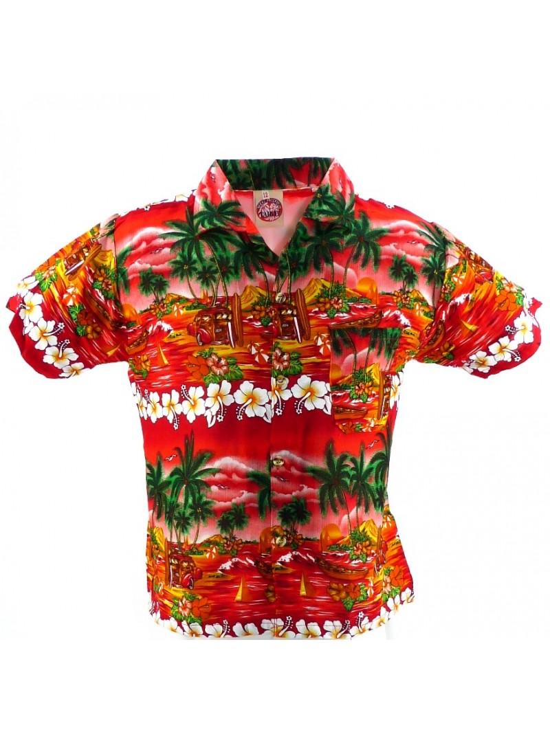 Chemise hawaïenne rouge enfant uluwatu