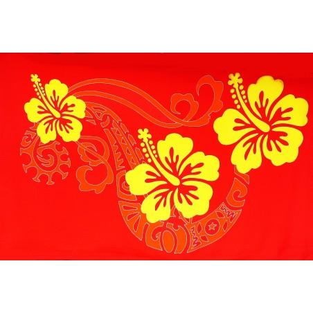 Paréos double frise tattoo hibiscus