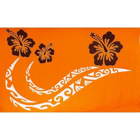 Paréos orange double frise tattoo hibiscus