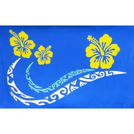 Paréos bleu double frise tattoo hibiscus