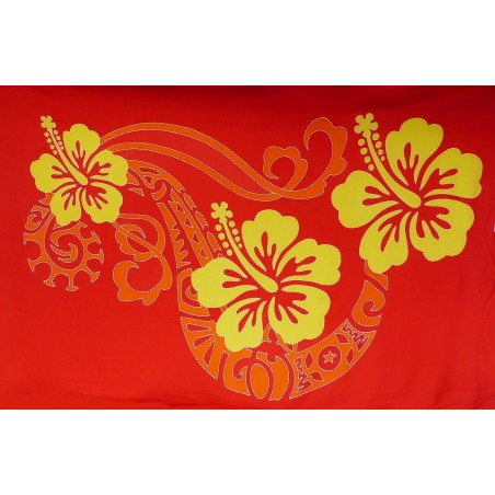 Paréos rouge double frise tattoo hibiscus
