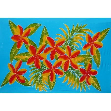 Paréo turquoise fleurs toahotu