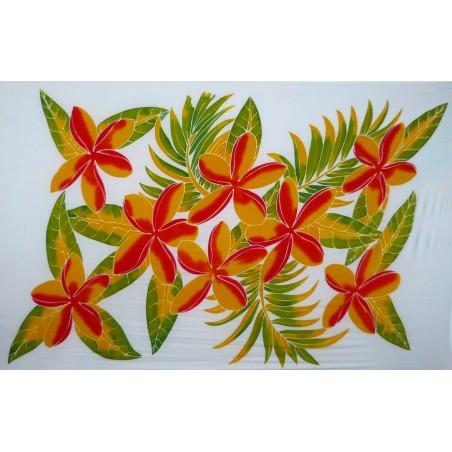 Paréos blanc fleurs toahotu