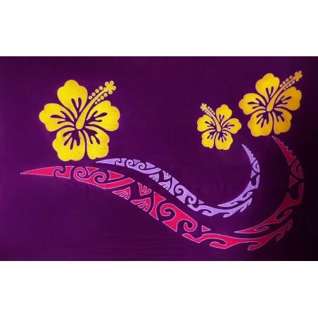 Paréo violet double frise tattoo hibiscus