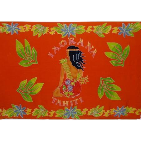 PARÉO Orange IAORANA TAHITI