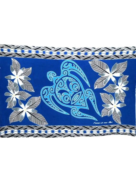 Paréo bleu Tatouage Tortue