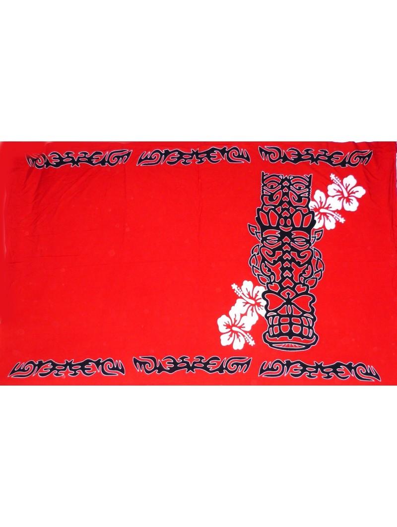 Paréo rouge Tatouage tiki