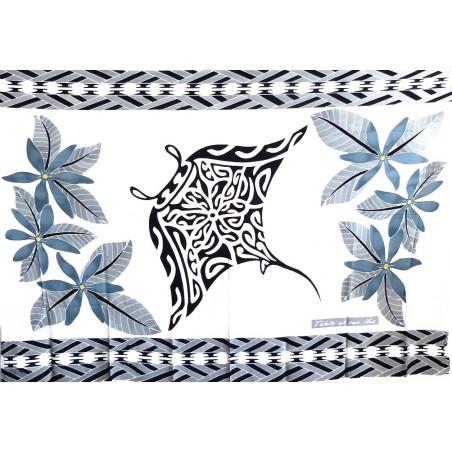 Paréos blanc Tatouage Raie Manta