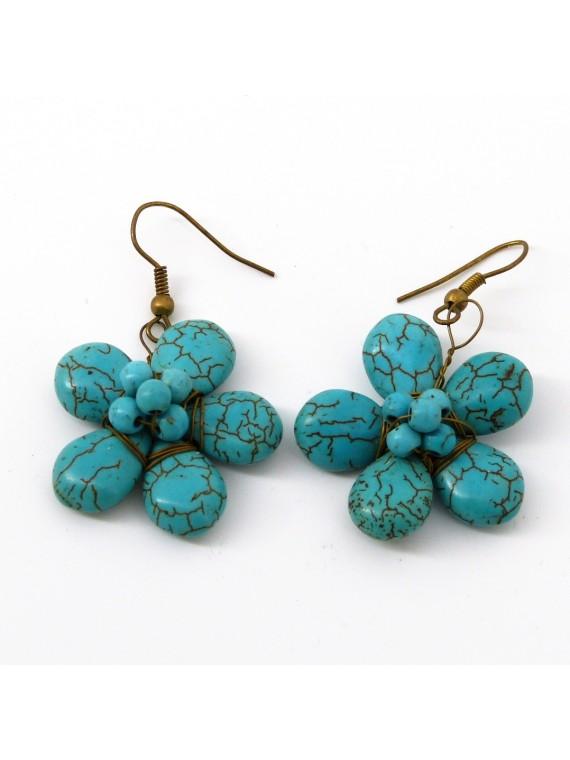 Boucle d'oreille en calcite turquoise