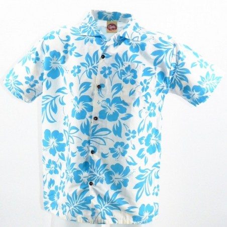 Chemise Hawaïenne turquoise fond blanc