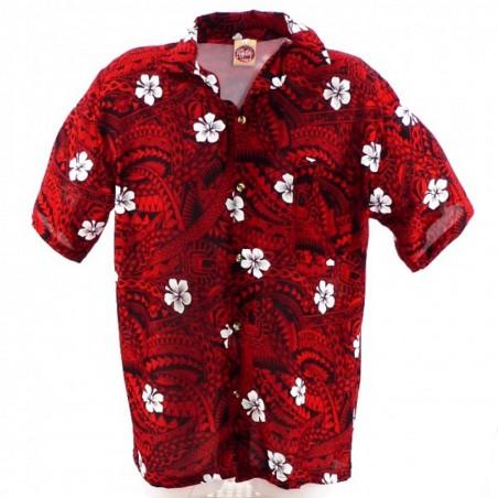 Chemise Hawaïenne Noir et rouge polynesian Tattoo