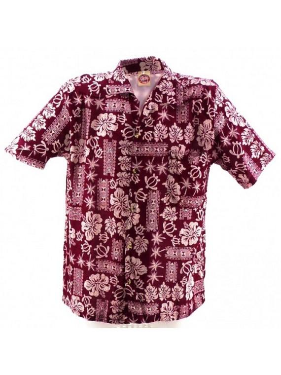 Chemise Hawaïenne rouge Saïgon