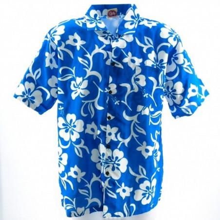 Chemise hibiscus enfant turquoise classique