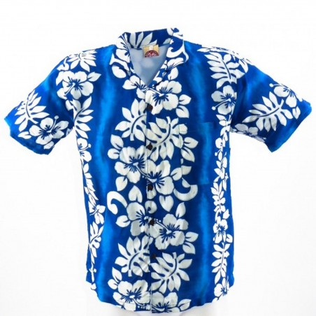 Chemise Hawaïenne turquoise hibiscus line enfant