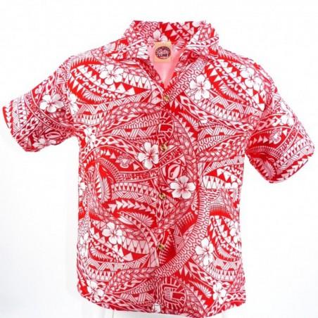 Chemise hawaïenne enfant rouge Polynésian Tattoo
