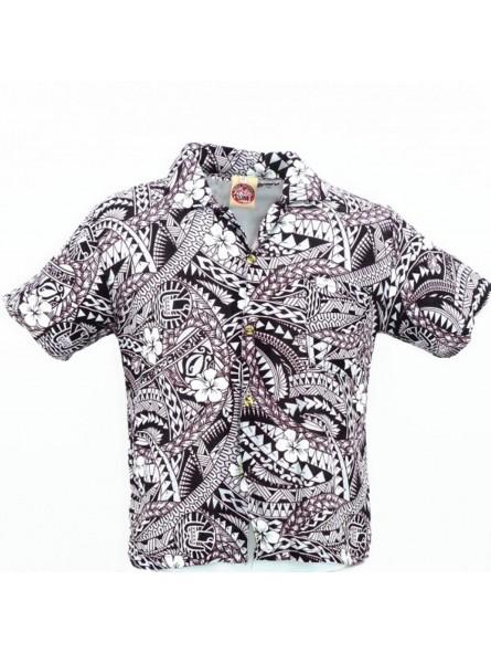 cfe0d8be047 Chemise hawaïenne enfant noir et blanche Polynésian Tattoo - Produit ...