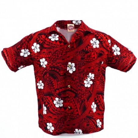 Chemise hawaïenne enfant rouge et noir Polynésian Tattoo