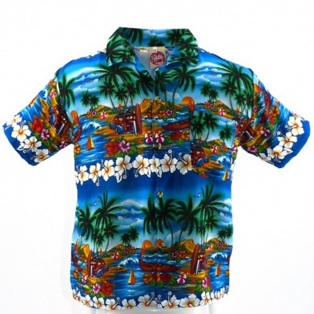 Chemise hawaïenne enfant turquoise uluwatu