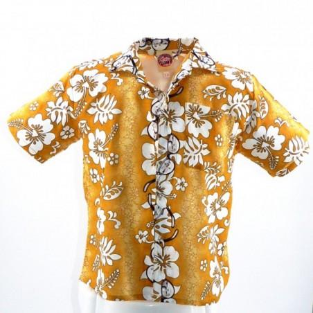 Chemise hawaïenne enfant beige moutarde Sun Glasses