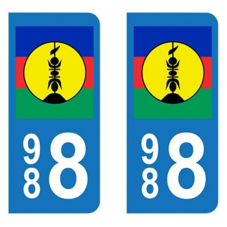 Autocollant Plaque d'immatriculation Drapeau Nouvelle Calédonie