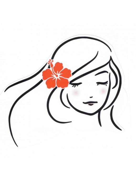 Autocollant Vahiné hibiscus rouge