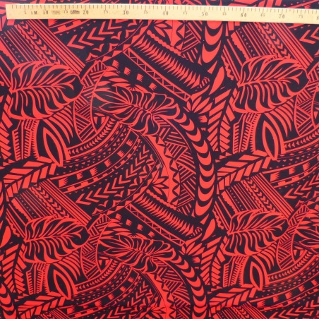 Tissu rouge et noir Tatouage Polynésien