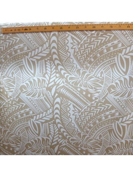 Tissu Crème Tatouage Polynésien