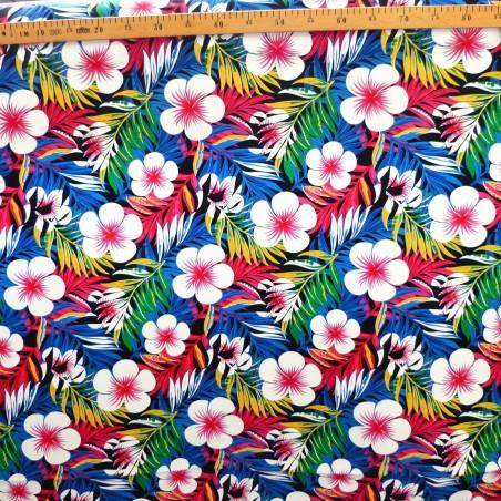 Tissu bleu et rose feuillage et frangipane