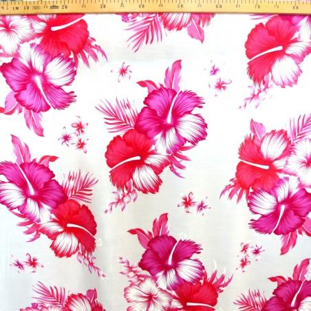 Tissu Tahitien Blanc Hibiscus Raitea