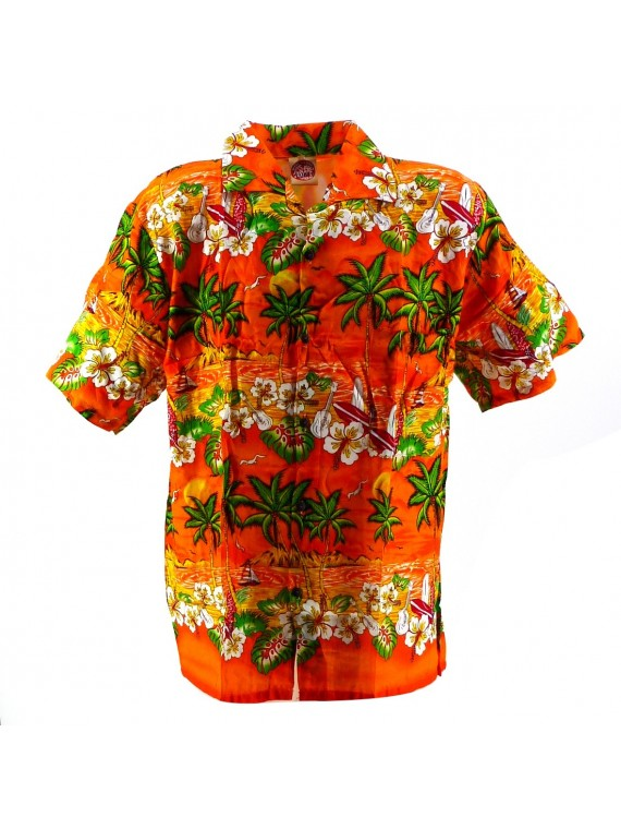 Chemise Hawaïenne orange Plage
