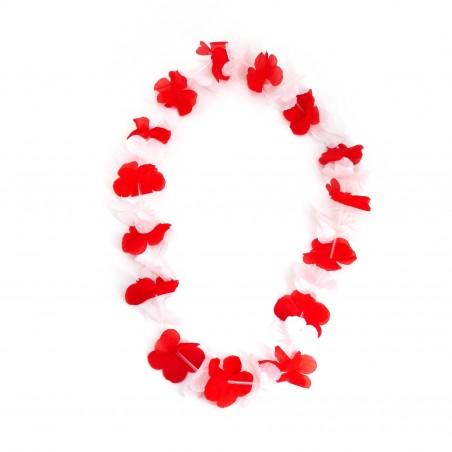 Collier hawaïen de fleurs blanc et rouge