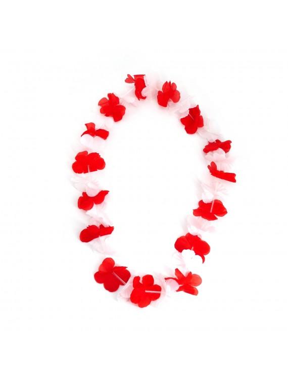 Collier hawaïen par 100 blanc et rouge