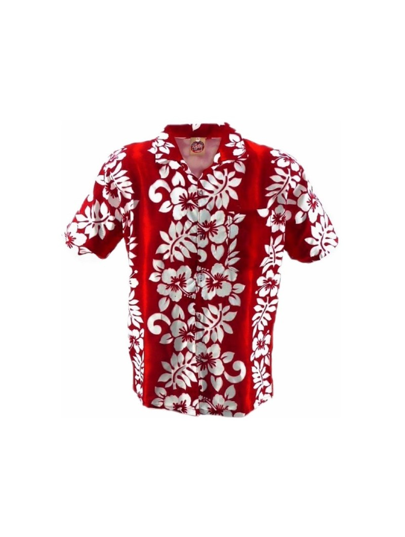 Chemise Hawaïenne rouge Line