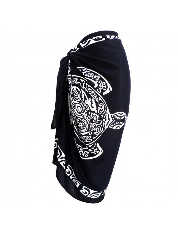 Paréo noir tatouage tortue