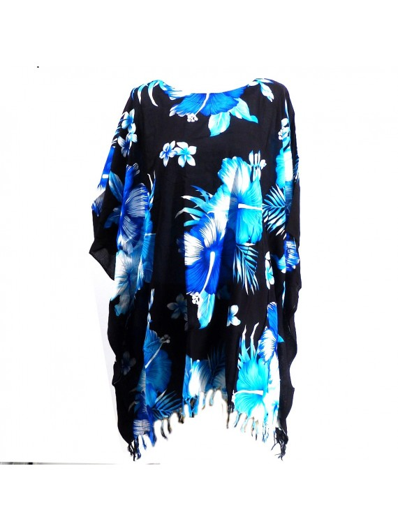Tunique Femme fond noir hibiscus bleu