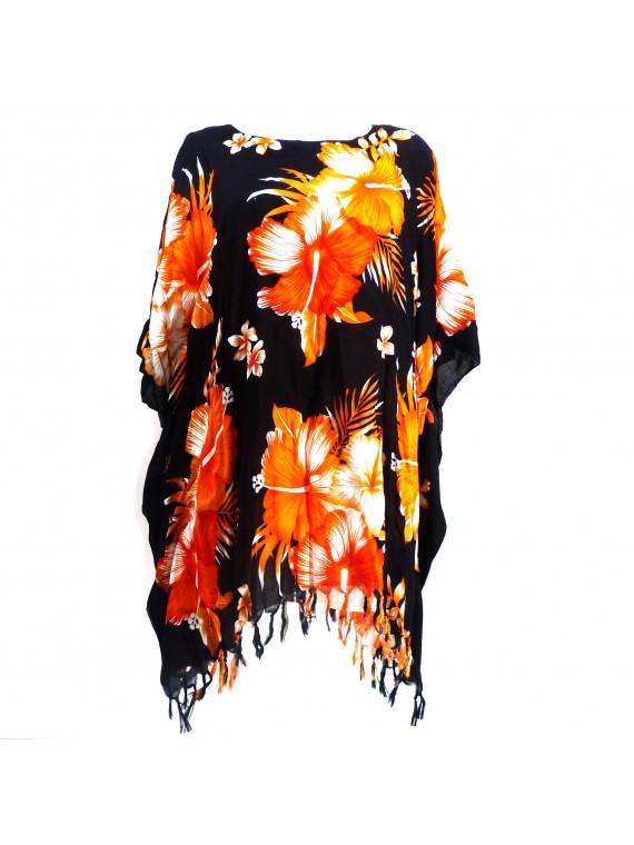 Tunique Femme fond noir hibiscus orange
