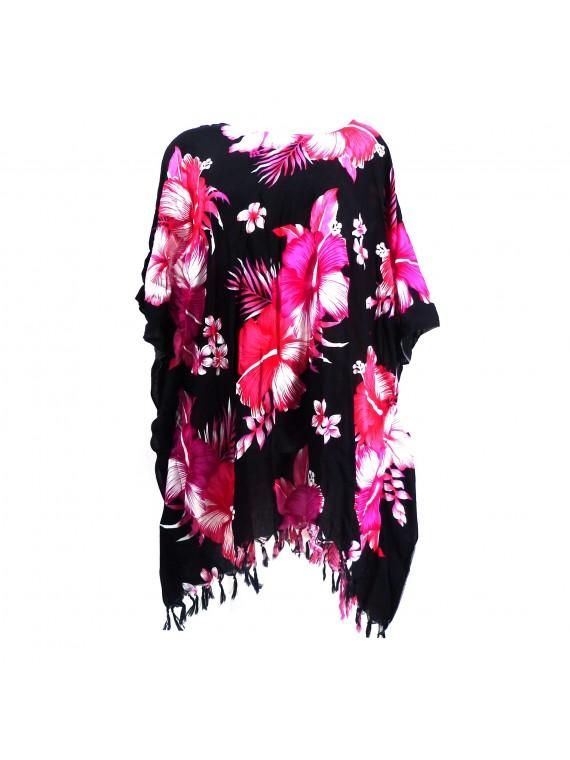 Tunique Femme fond noir hibiscus rose