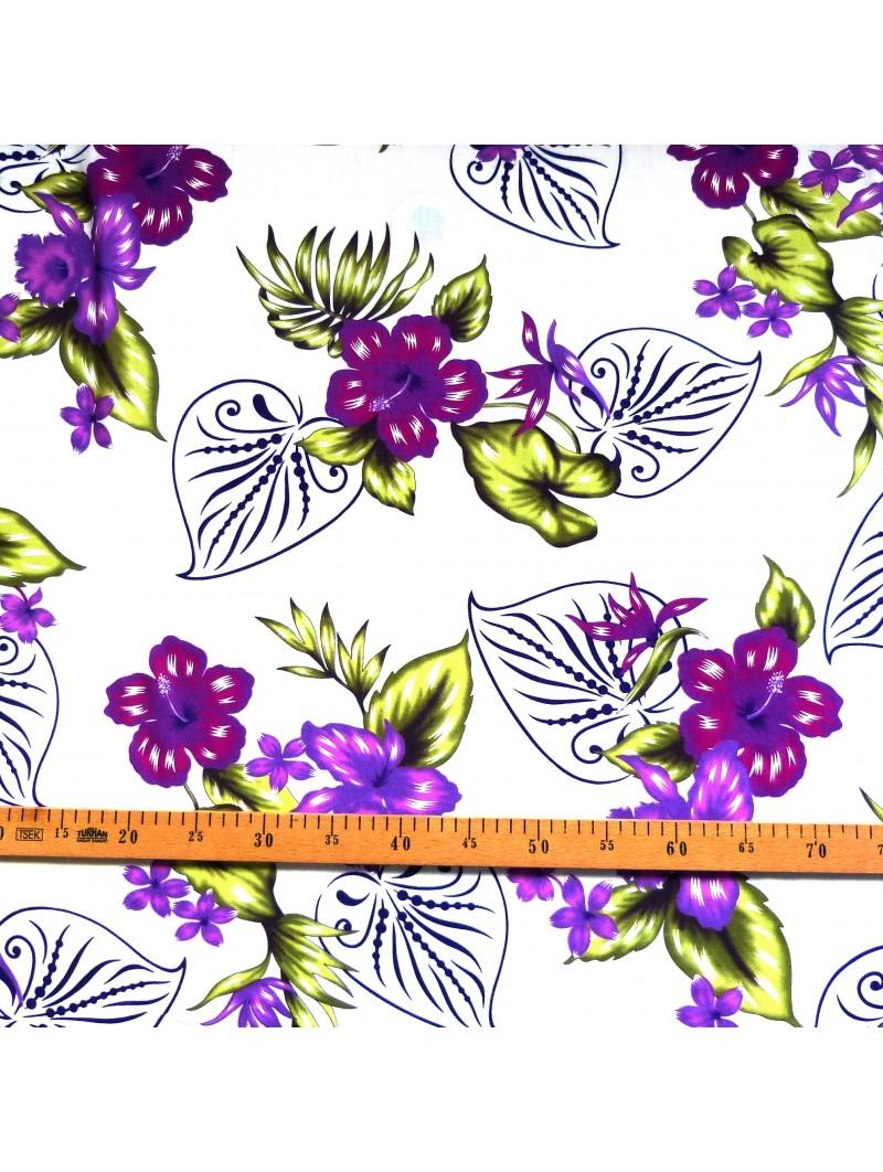 Tissu fond blanc fleurs violet bouquet