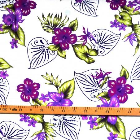 Tissu fond blanc fleurs violettes bouquet