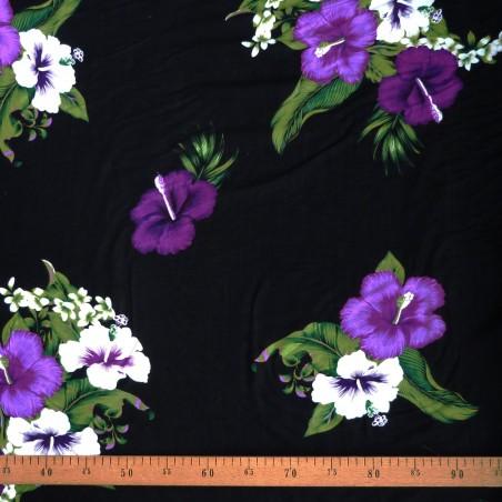 Tissu noir quadruple hibiscus violet