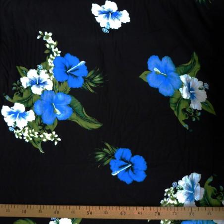 Tissu noir quadruple hibiscus bleu