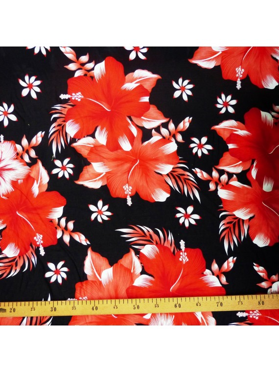Tissu noir fleurs rouge kahama