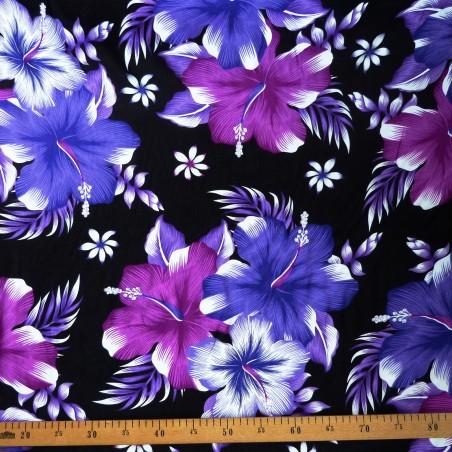 Tissu noir fleurs violettes kahama